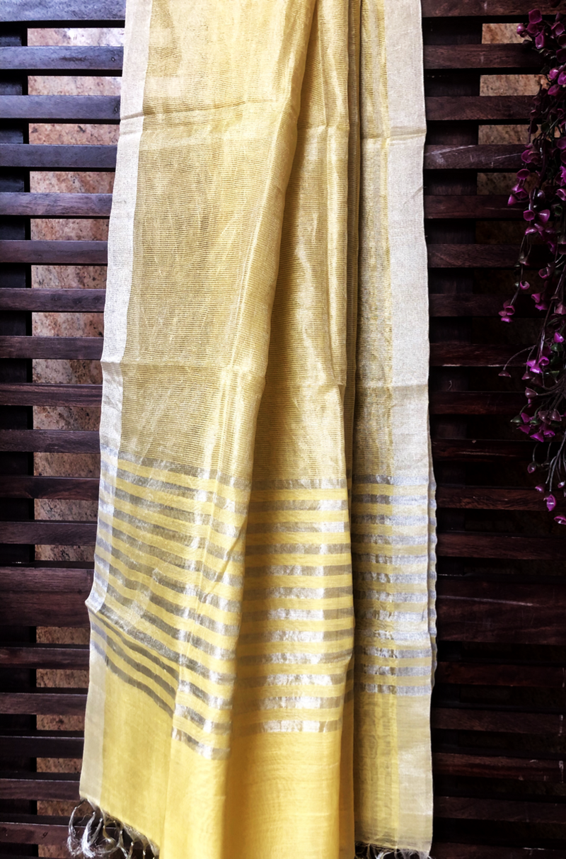 handwoven chanderi dupatta  - yellow zari & stripes