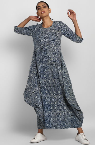 cowl pocket dress - indigo zigzag & sprinkles
