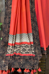 patchwork applique saree - peach buff & kohl leaves