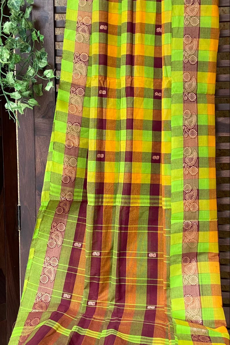 chettinad cotton saree - many checks & green hues