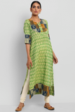 long kurta with patchwork yoke - green ikat & mosaic