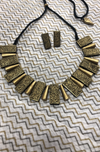 jewelry - terracotta set - antique gold & choker with stud earrings