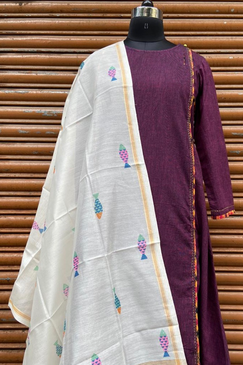 handwoven chanderi dupatta -  ivory & multicoloured fishes