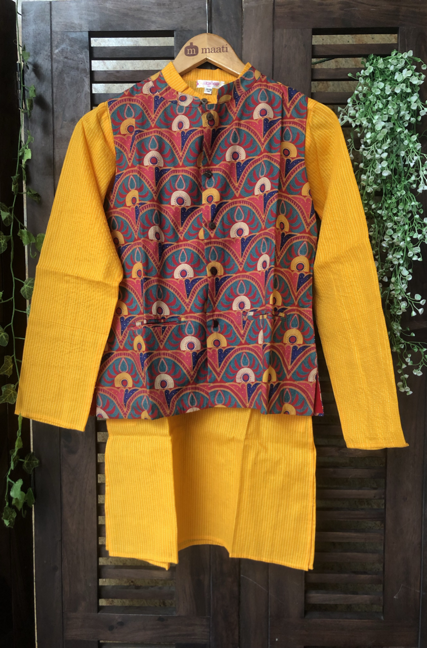 kidswear - red green jacket with yellow kurta & pajama