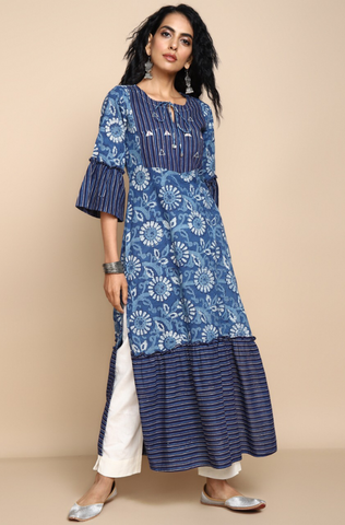 ruffle kurta with slit - indigo & dahlias