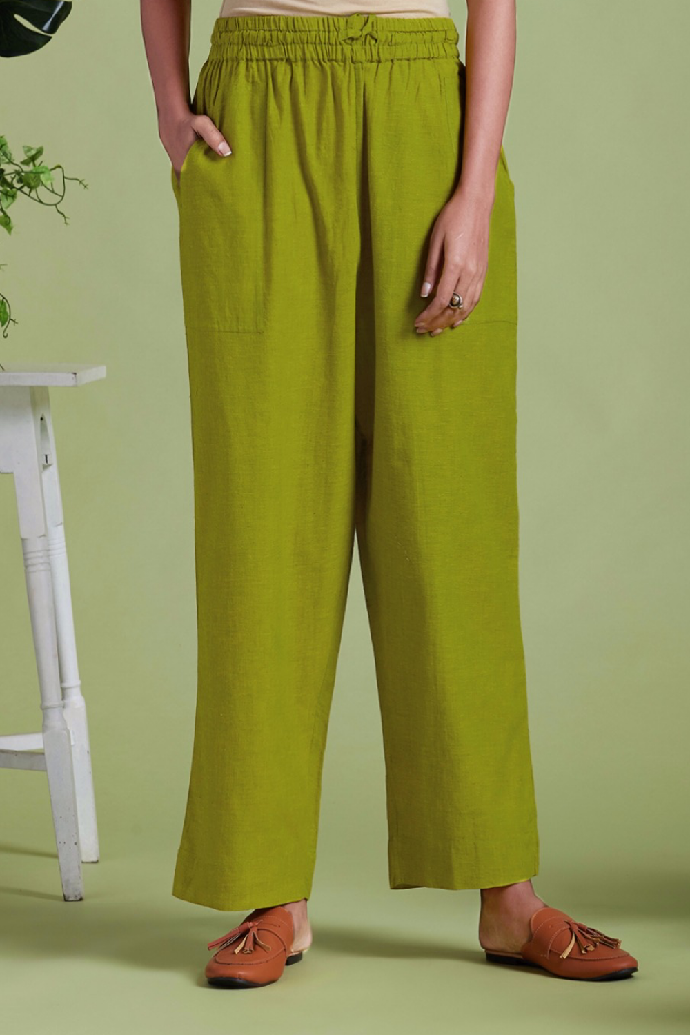 ELASTICATED MANGALGIRI PANTS - LIME GREEN