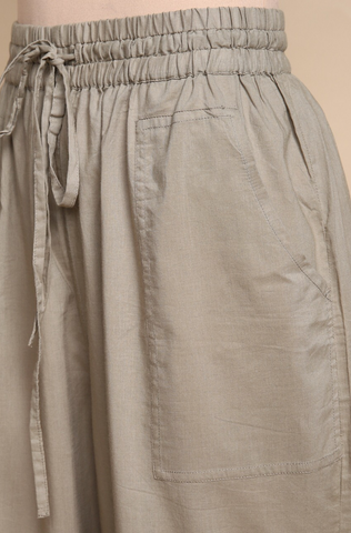 ELASTICATED CAMBRIC PANTS - GREY