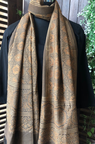 ajrakh silk stole - ochre brown & riyal