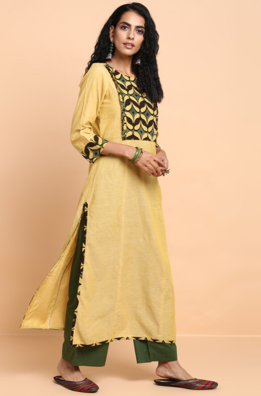 long kurta - pale daffodil & leaves