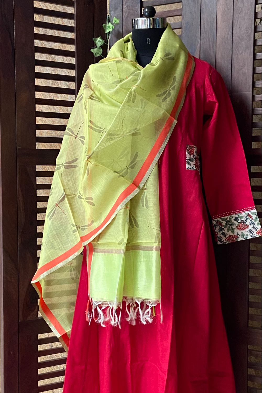 handwoven chanderi dupatta -  green sheer & dragonflies