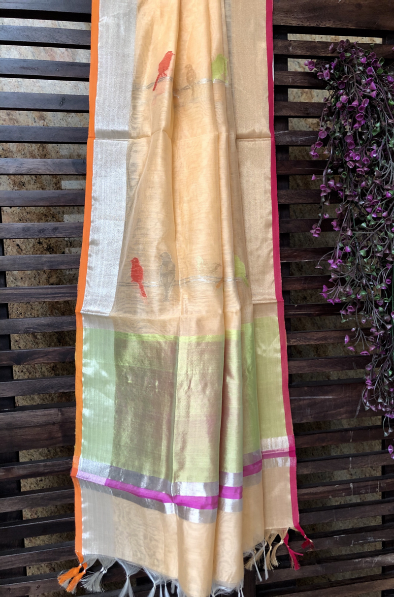 handwoven chanderi dupatta - badami & dancing sparrows