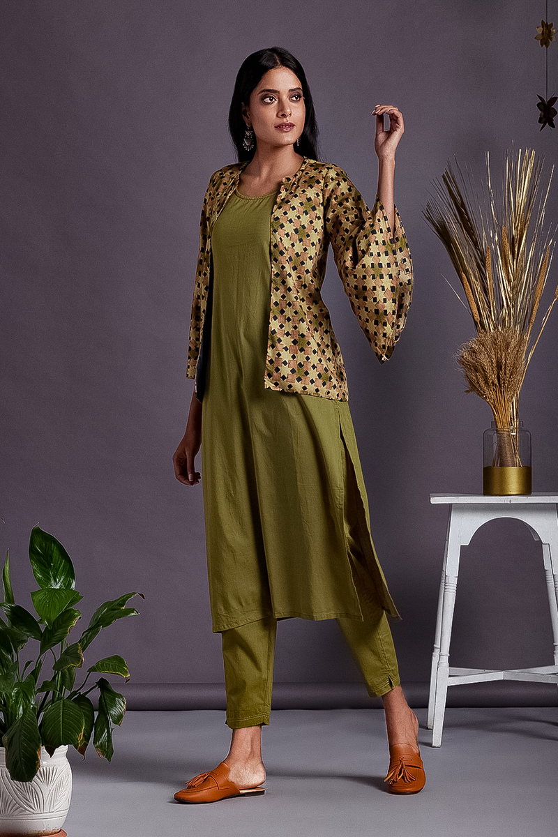 complete set : kurta+pants+bell sleeve jacket - irish moss & montage