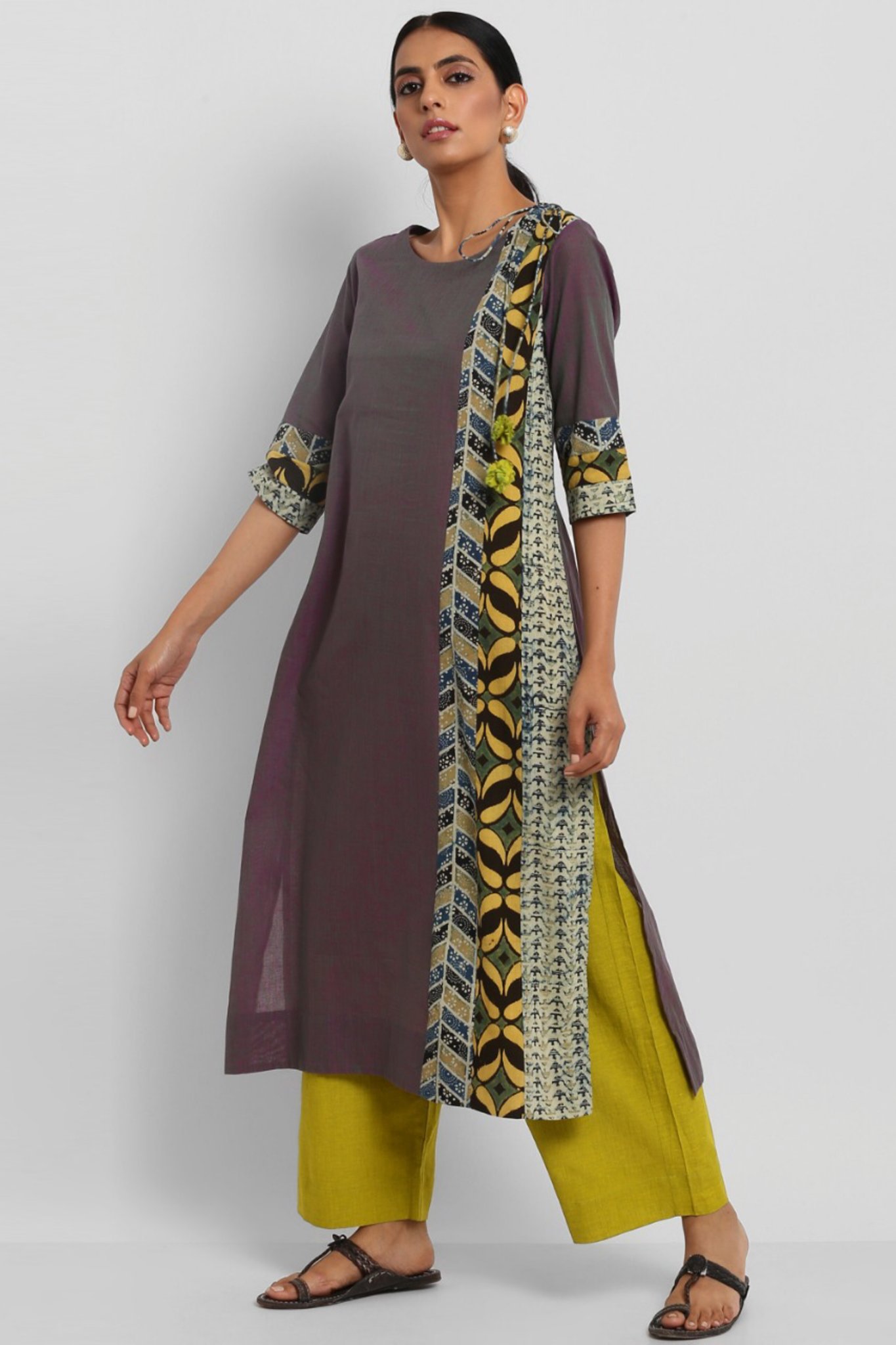 patchwork long kurta - dhoop chaav & buttis
