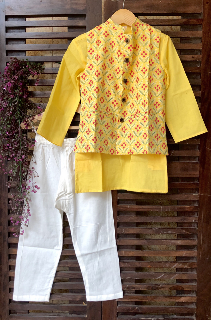 kidswear - yellow buti jacket with yellow kurta & pajama