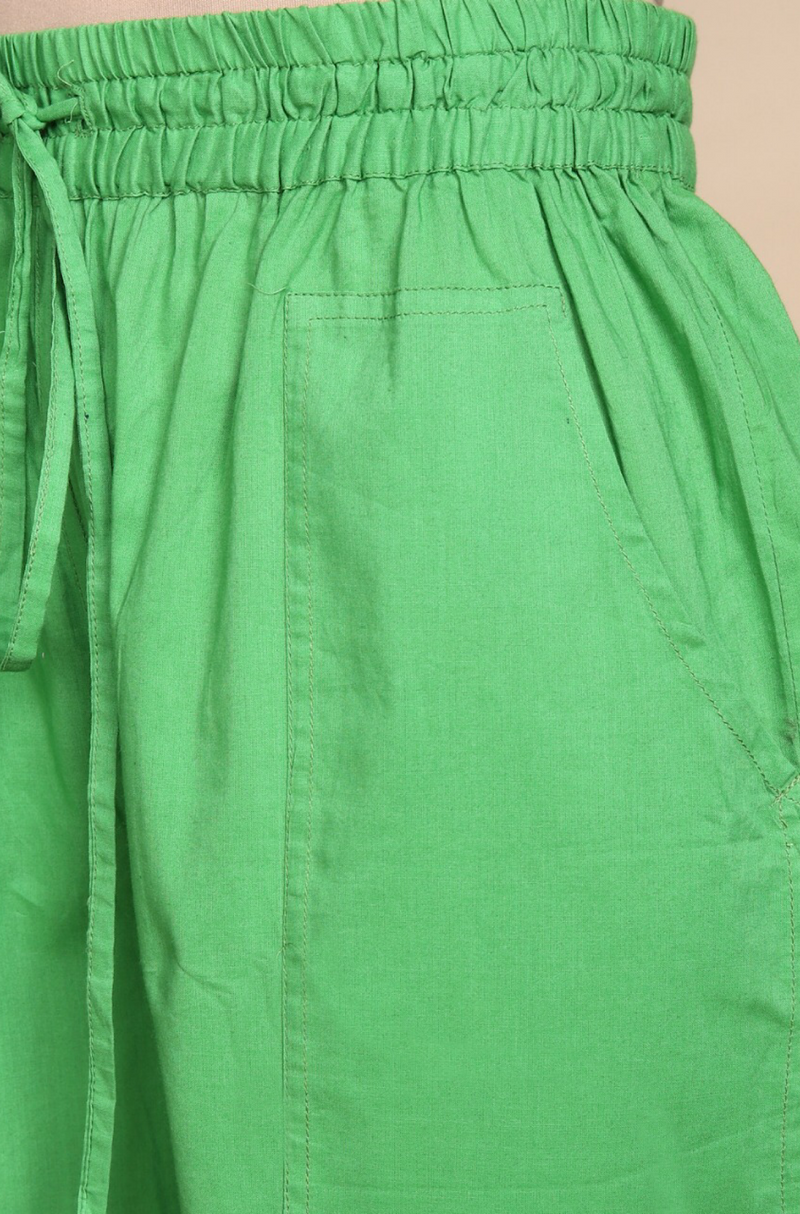 ELASTICATED CAMBRIC PANTS - LEAF GREEN