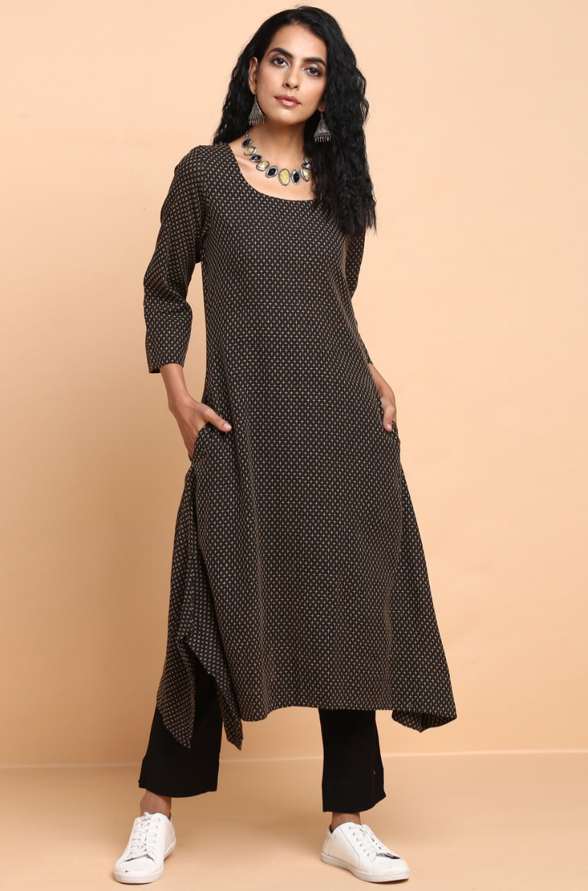 asymmetrical kurta - sable & beige dots