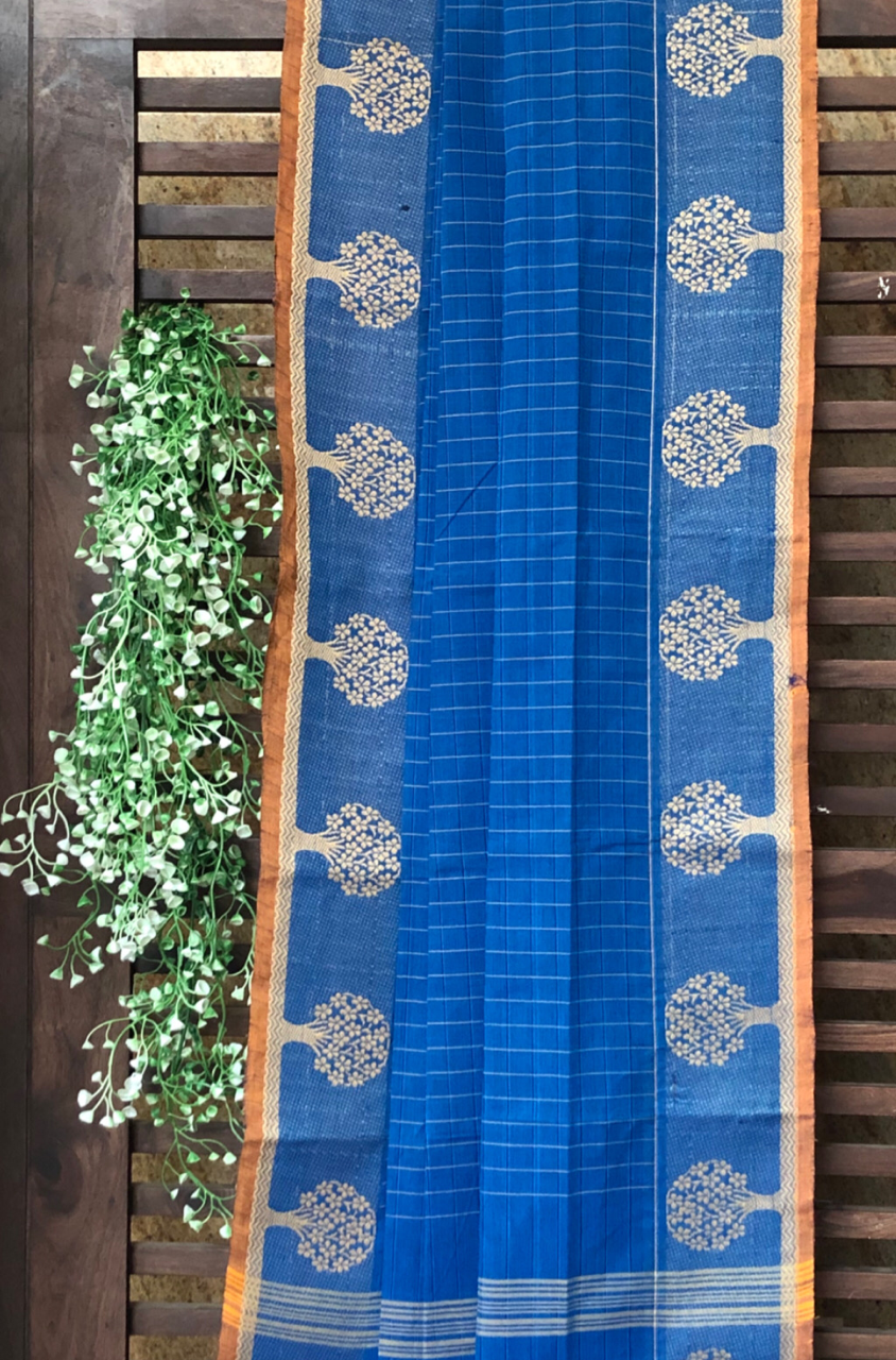 chettinad cotton saree - cobalt blue checks & tree border