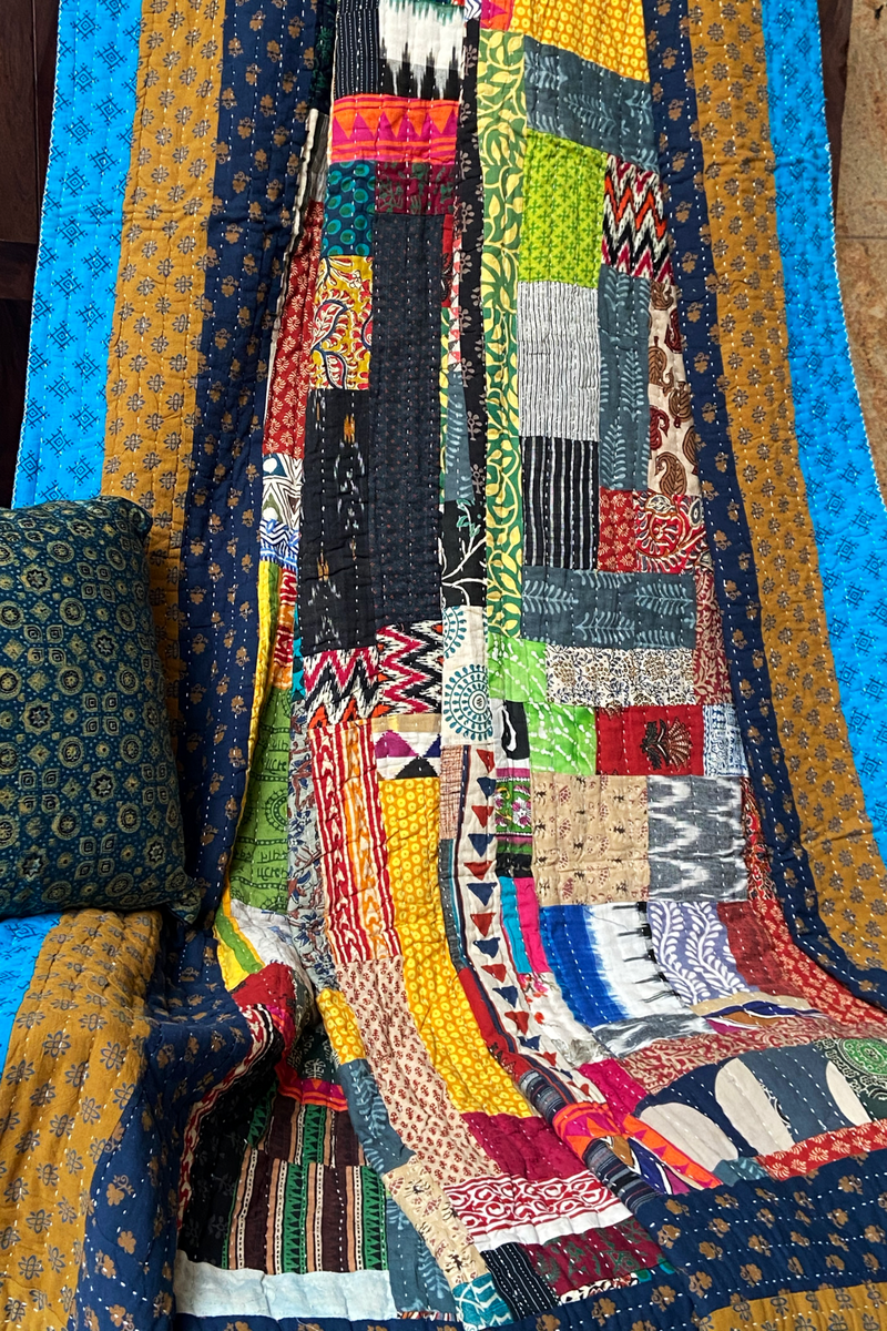 handcrafted double filler quilt  - kaleidoscope & reflections