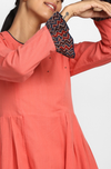 side box pleat dress with ruffle sleeves - coral & indigo ruffles