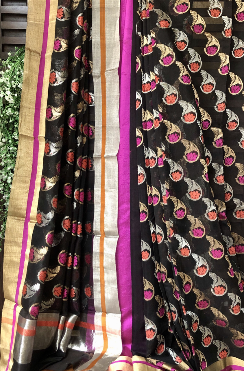 handwoven chanderi saree - midnight sparkles & paisley gold