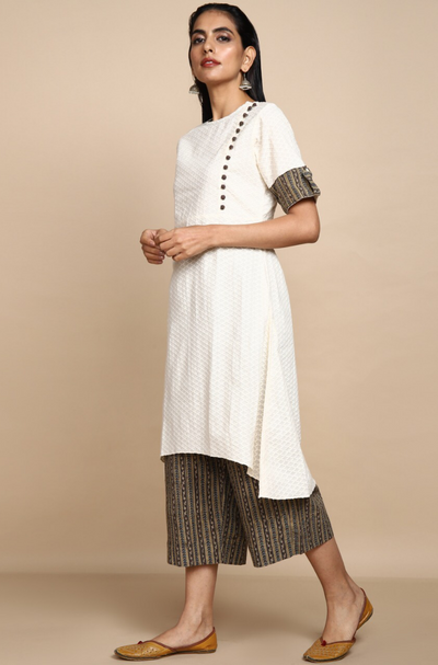 White tunic kurta with side potli buttons and culottes in brown grey ajrakh
