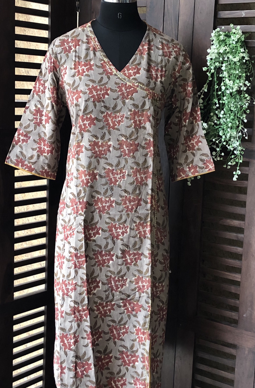 angrakha tunic dress - grey kashish jaal with flowers