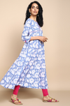 Light Blue and white hand block printed cotton anarkali with round neck and pink hand embroidery and mirror work on  bust and border