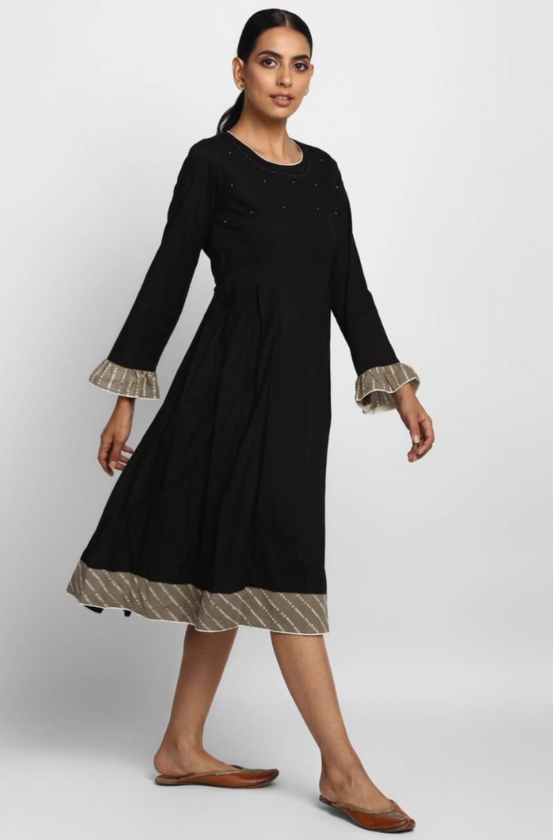 side box pleat dress with ruffle sleeves - midnight sky & gold drops