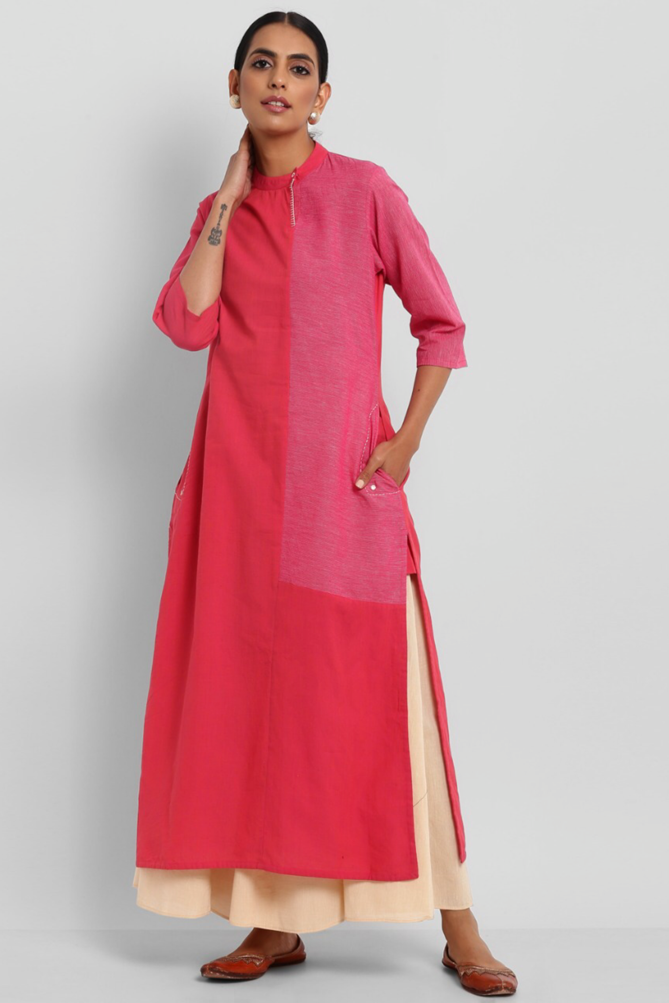 LONG KURTA WITH POCKETS - LOTUS PINK & PANEL