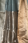 handwoven chanderi saree - harbor grey & silver buttis
