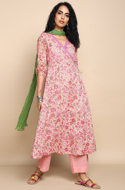 pastel pink with pink and green  flowers cotton soft mul angrakha anarkali with pastel pink mul pants