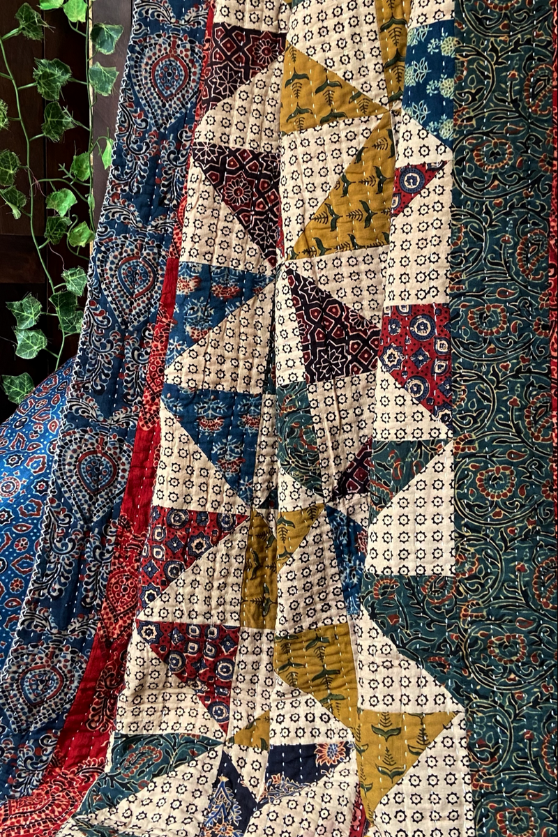 handcrafted single quilt with filler - windmill & many hues