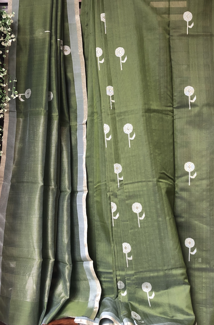 handwoven chanderi saree - pine forest & silver bloom