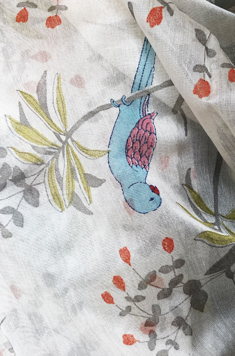 handwoven chanderi dupatta  -  many parrots & blue skies