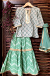kidswear - green buti kurti with green sharara & dupatta