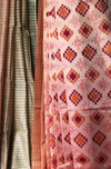 handwoven chanderi saree - shades of coral & pink mosaic