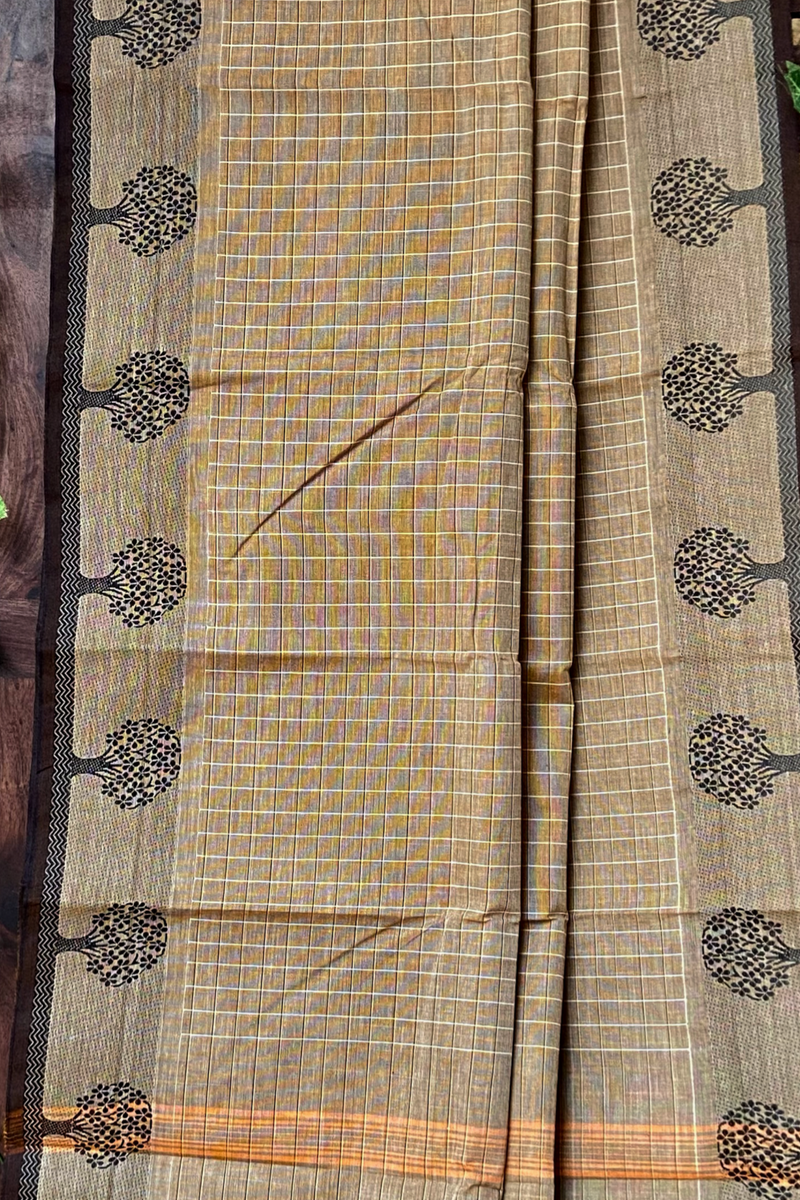 chettinad cotton saree - beige drops & checks