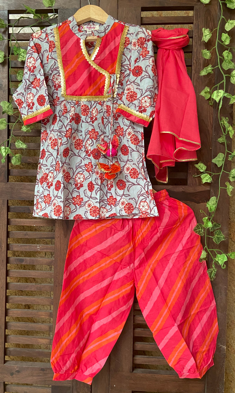 kidswear - red angrakha kurti with red afghani salwar & dupatta