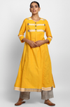 Yellow Mangalgiri A ling Kalidar Kurta with pockets and Chanderi Pants