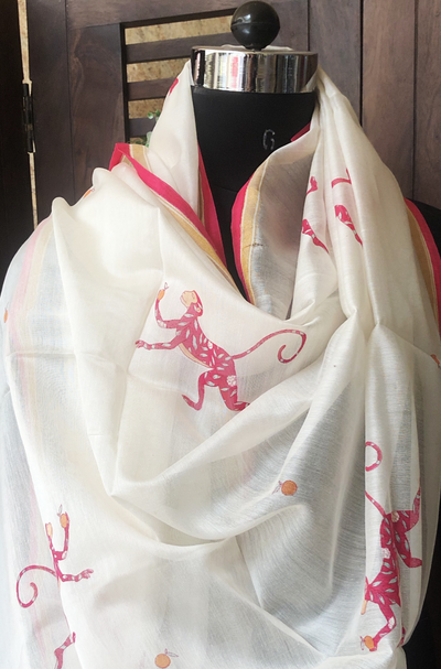 handwoven chanderi dupatta - pink monkey & falling fruits