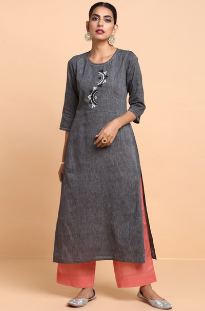 long kurta + pants - charcoal grey & mellow coral