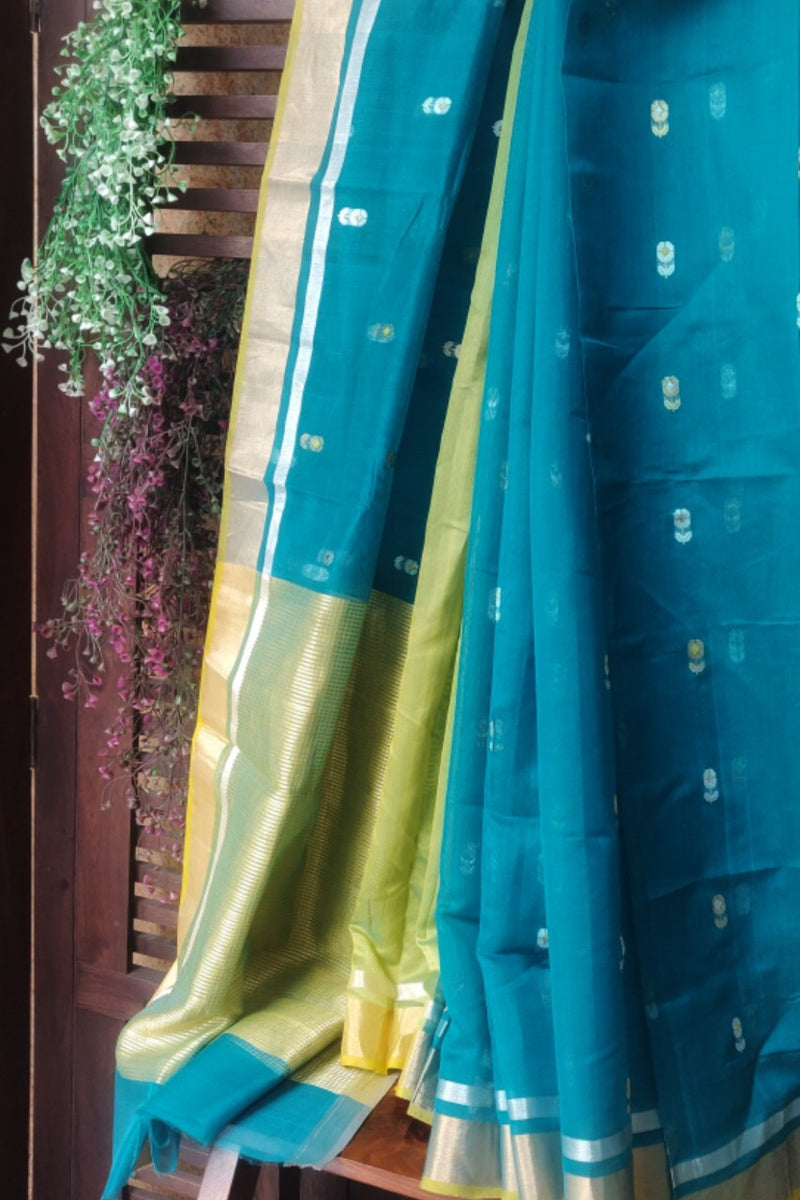 handwoven chanderi saree - peacock & gold buttis