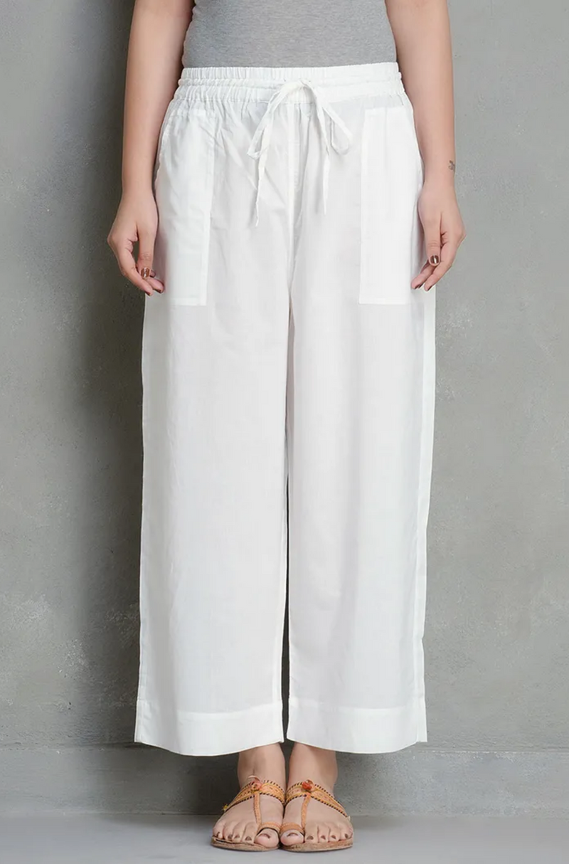 ELASTICATED CAMBRIC PANTS - YOGA WHITE