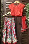 kidswear - red top with grey floral lehenga & dupatta