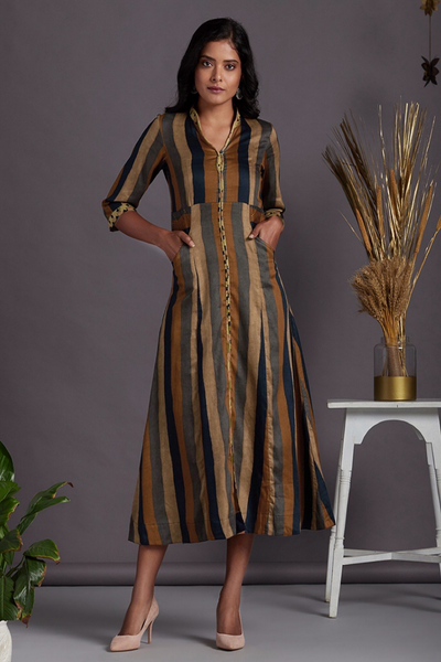a-line long dress - radiant copper & gold stripes