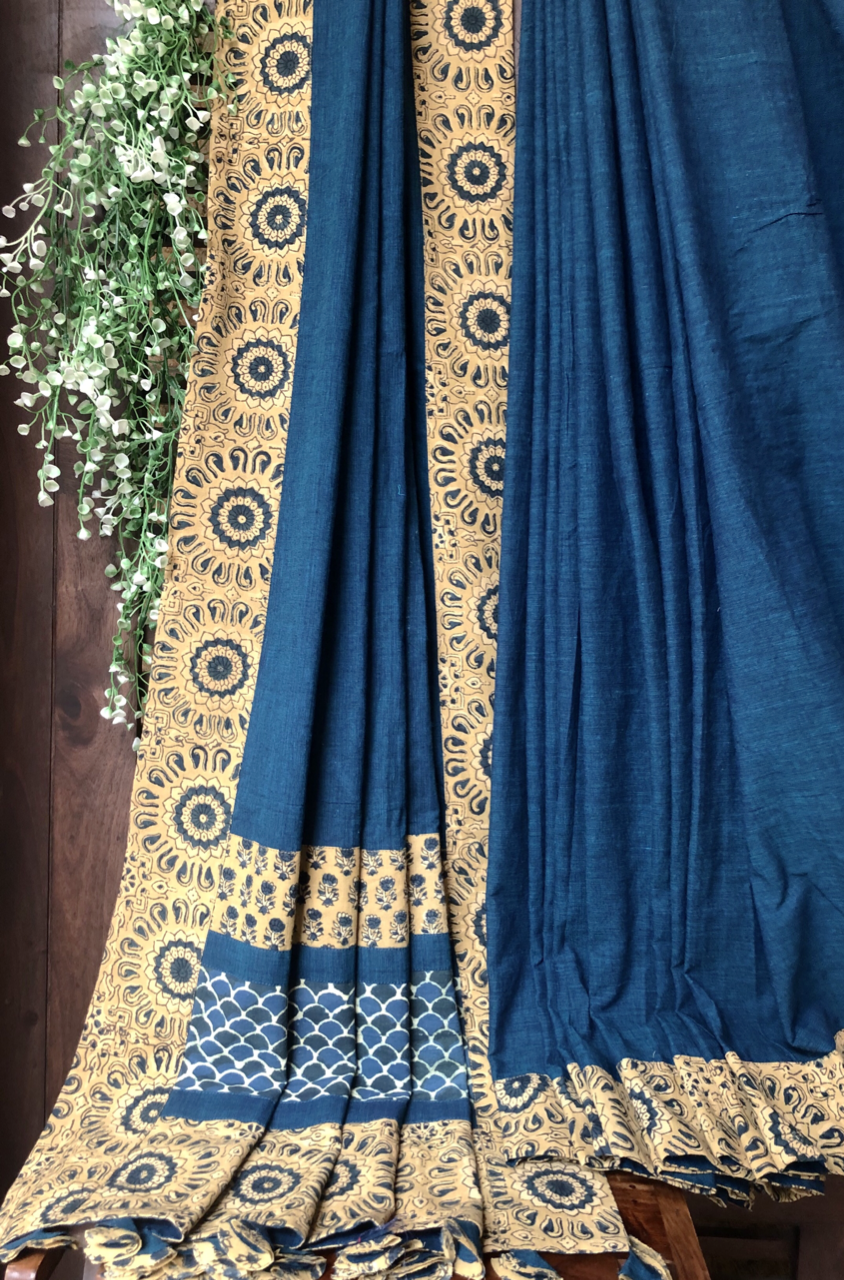 patchwork applique saree - peacock blue & rhubarb garden