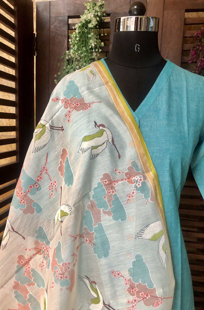 handwoven chanderi dupatta  -  cherry blossom & flying pelicans