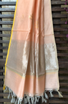 handwoven chanderi dupatta - peach & gold buttis