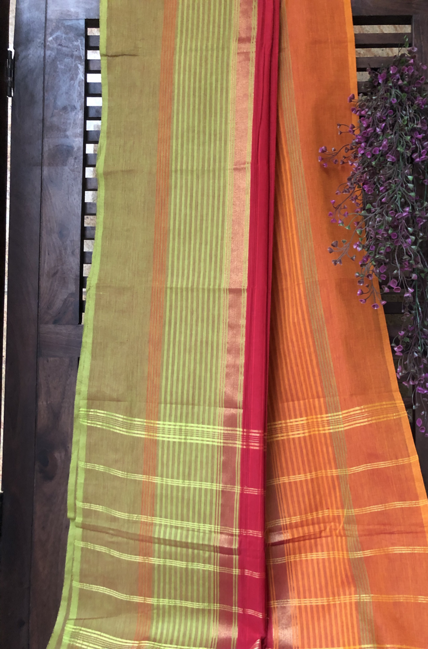 chettinad cotton saree - crimson & dual border