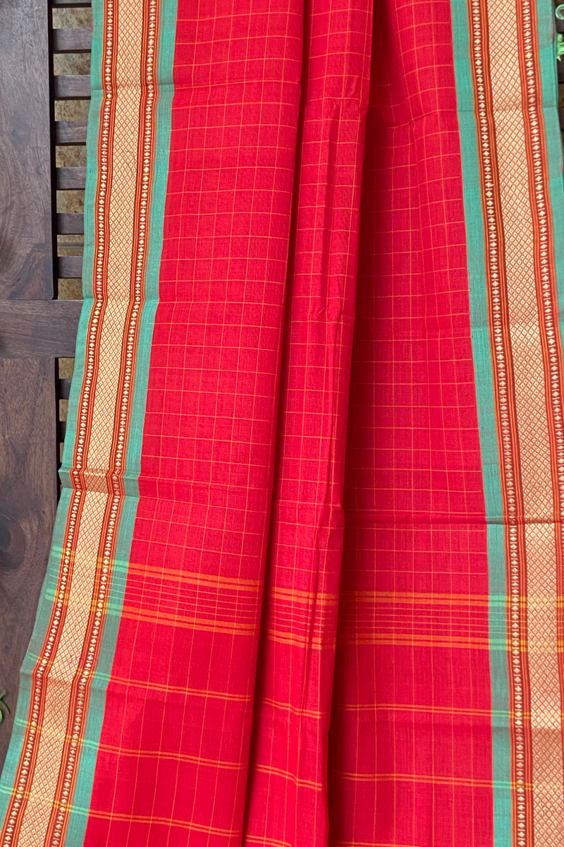 chettinad cotton saree - crimson & gold checks